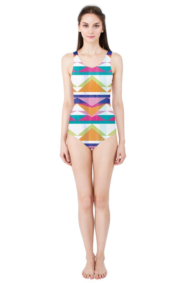 Triangle Waves_MirandaMol Women's One Piece Swimsuit #pinkcess #mirandamol #fashion #cool #beachwear #swimsuit #beach #summer #pinkcess #pinkcessfashion #pnkx