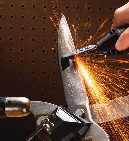 Sharpen your blades with a Dremel 200 Series.