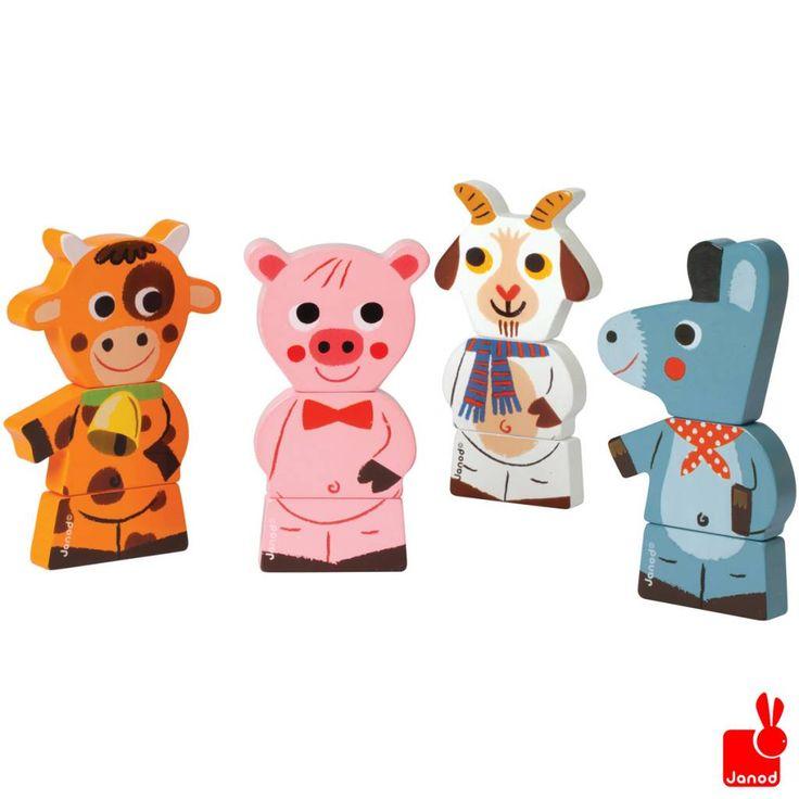 Janod Funny magnets boederijdieren.  Magnetische houten boerderij dieren. Maak ze compleet! http://www.janod.nl/janod-funny-magnets-boederijdieren.html