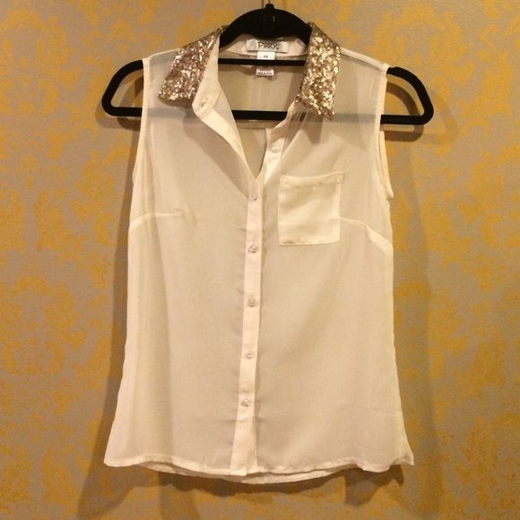 See through blouse Beige button down see-through blouse with gold sequin collar Tops Blouses