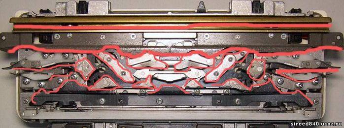 """Самая удобная и рациональная схема смазки машины предложенная в сети: Берем пустой, тщательно отмытый растворителем и высушенный, т.е. идеально ЧИСТЫЙ флакон от лака для ногтей с хорошей кисточкой, наливаем туда правильное масло и кисточкой СЛЕГКА смазываем клинья каретки и напрявляющие игольницы, там где указано на схеме. При этом помним всегда главное, что """"...нет масла - смерть машине, много масла - все заклинит..."""" Делать всегда нужно так - перед работой смазали, после работы вытерли все…"""