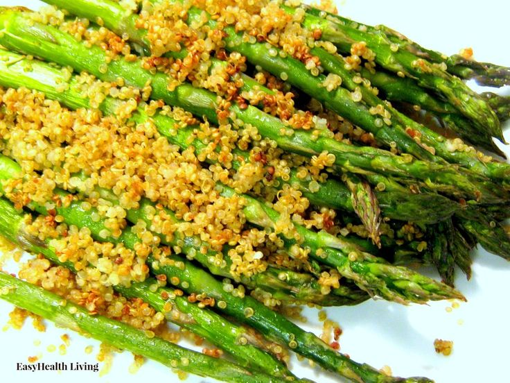 Toasted Quinoa over Asparagus