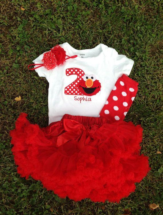 Red Elmo birthday outfit -1st 2nd birthday elmo shirt custom personalizedbirthday shirt