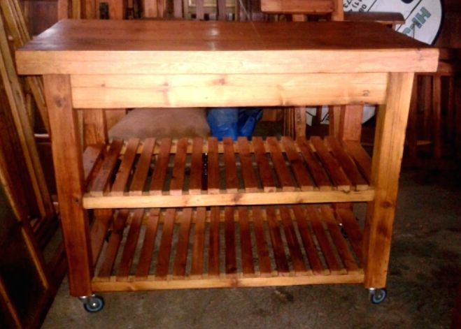 SOLD! #NorthcliffAntiques Kitchen butcher's block made from oregon pine with straight legs and wheels under each leg, available in the shop. #CustomFurniture #Wood #OregonPine #ButchersBlock #ForSale #Kitchen