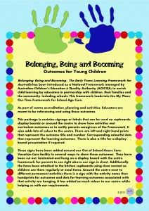 Belonging Being and Becoming Early Years Learning Framework Outcomes signs to display around the centre at activities to meet National Quality Standards by KR Learning