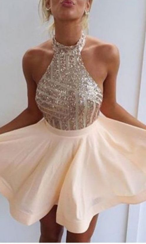 Cute Homecoming Dress,High Neck Prom Dress,Short Prom Dress,Sequin Homecoming Dress,Sleeveless Homecoming Dress,Mini Prom Dress