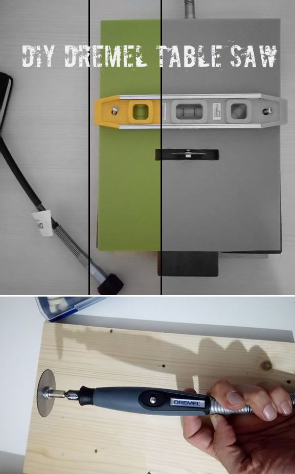 Build your own table saw with a Dremel tool.