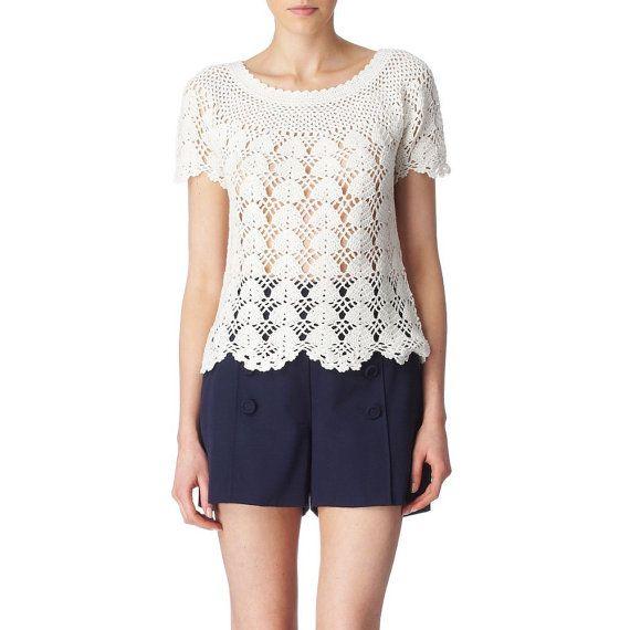 Abierto Tejer Crochet verano Top relajarse ajuste por DearAlina