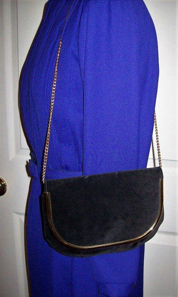 8b54efcf8b00 Vintage 1960s Ladies Black Velvet Shoulder Bag w  Brass Hang Chain by Ideal  Mod Only 10 USD  shoulderbag  velvet  bag