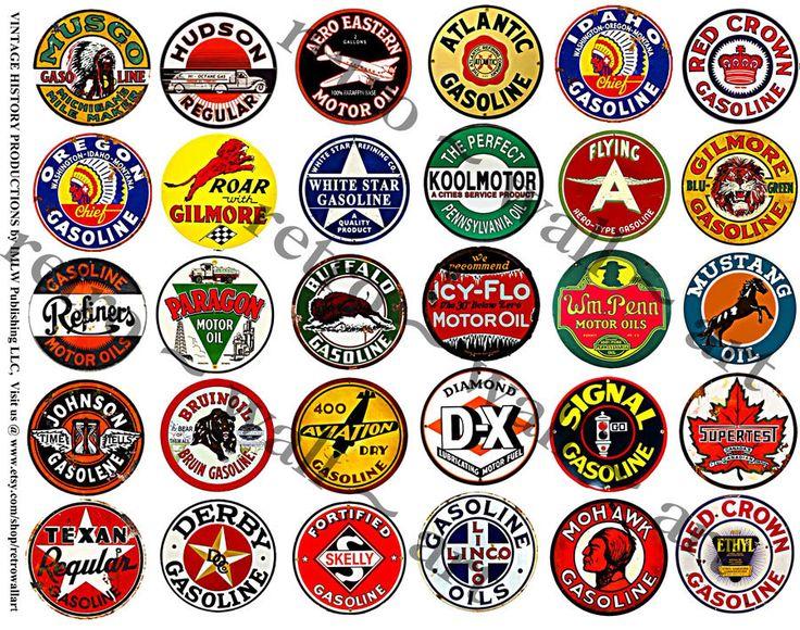 Sticker Set Vintage Oil Can Labels Garage Clip Art