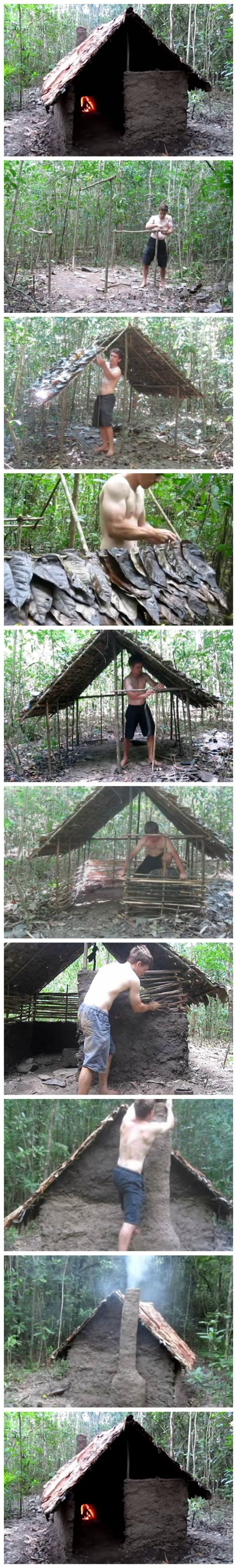 Building a Primitive Wattle and Daub Hut From Scratch: