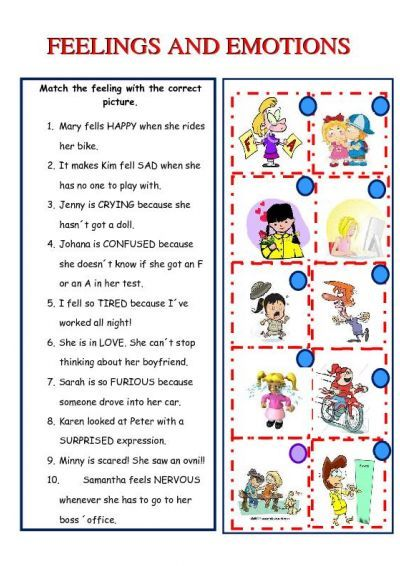 feelings and emotions worksheet - iSLCollective.com - Free ESL worksheets