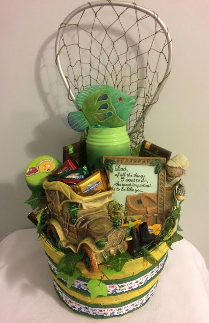 $55 @Ebay Handmade Vintage Happy Fathers Day Dad's Fishing Rules Gift Basket  #Handmade #FathersDay