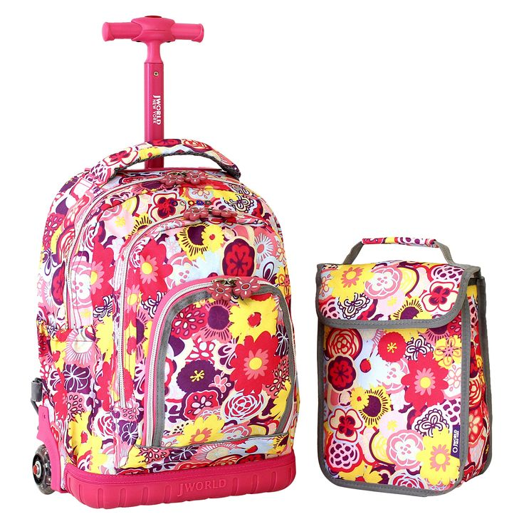 """Lollipop Poppy Pansy 16"""" Children's Rolling Backpack with Lunch Bag"""