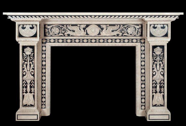 Grande Camino in marmo intarsiato in scagliola laboratorio Bianco Bianchi Firenze- Large fireplace inlaid marble scagliola workshop Bianco Bianchi Florence