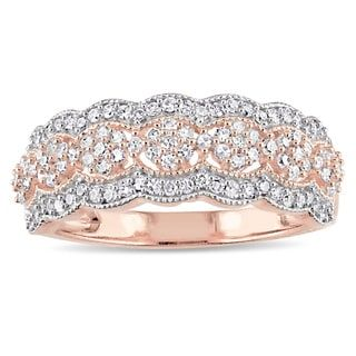 d5280874464832 Shop for Miadora Signature Collection 10k Rose Gold 1/2ct TDW Diamond  Milgrain Detail Anniversary Ring. Get free delivery at Overstock.com - Your  Online ...