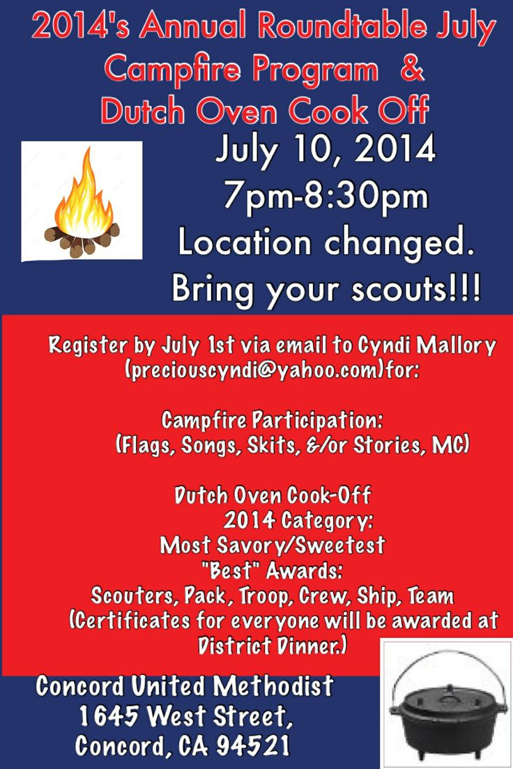 BSA Muir District Roundtable Campfire Program & Dutch Oven Cook-Off. Open to all Ages of Scouts and Scouters. Scripts, Jokes, Songs encouraged from all participant Dens, Patrols, Ships, Crews, Packs, Troops and Leaders!  Dutch-Oven entries can be ANYTHING!