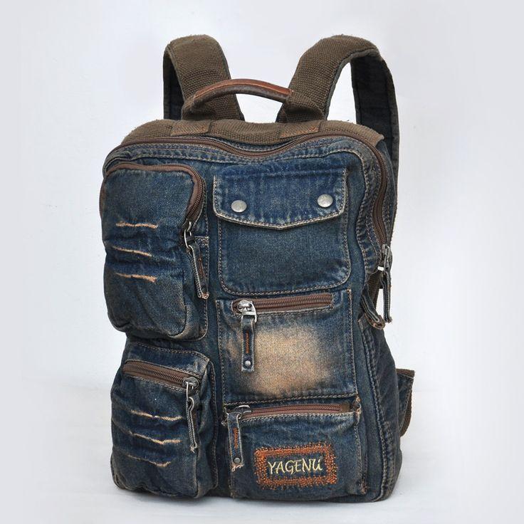 Hombres retro acabado antiguo vintage casual multi- bolsillo bolsa de la escuela de mezclilla en dificultades s227 mochila