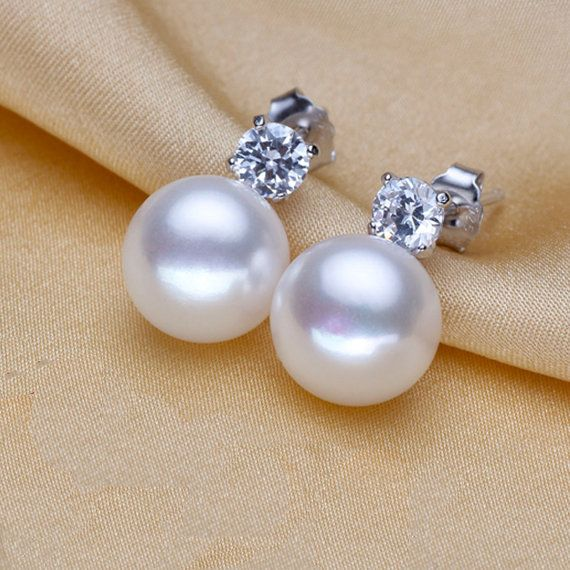White Genuine Freshwater Real Pearl Earring Stud Cubic Zirconia Diamond Sterling Silver S
