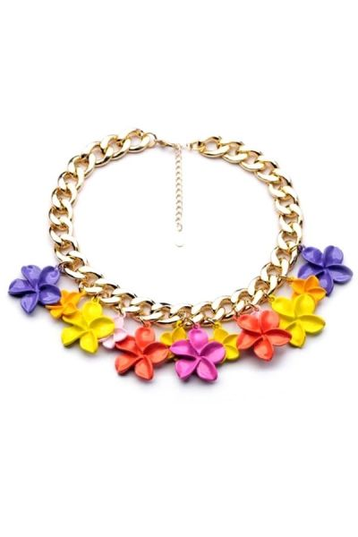Golden Chain Floral Necklace