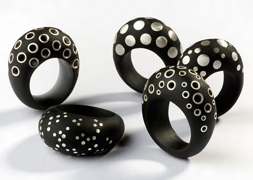 Rings | Sarah King.  Bioresin inlaid with sterling silver.