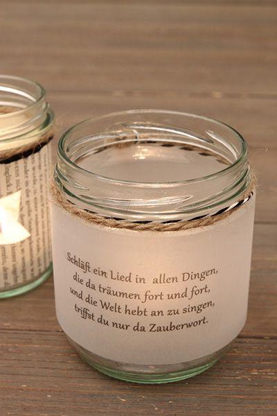 Bookish DIY: Kerzenglas mit Gedicht von Eichendorff verzieren