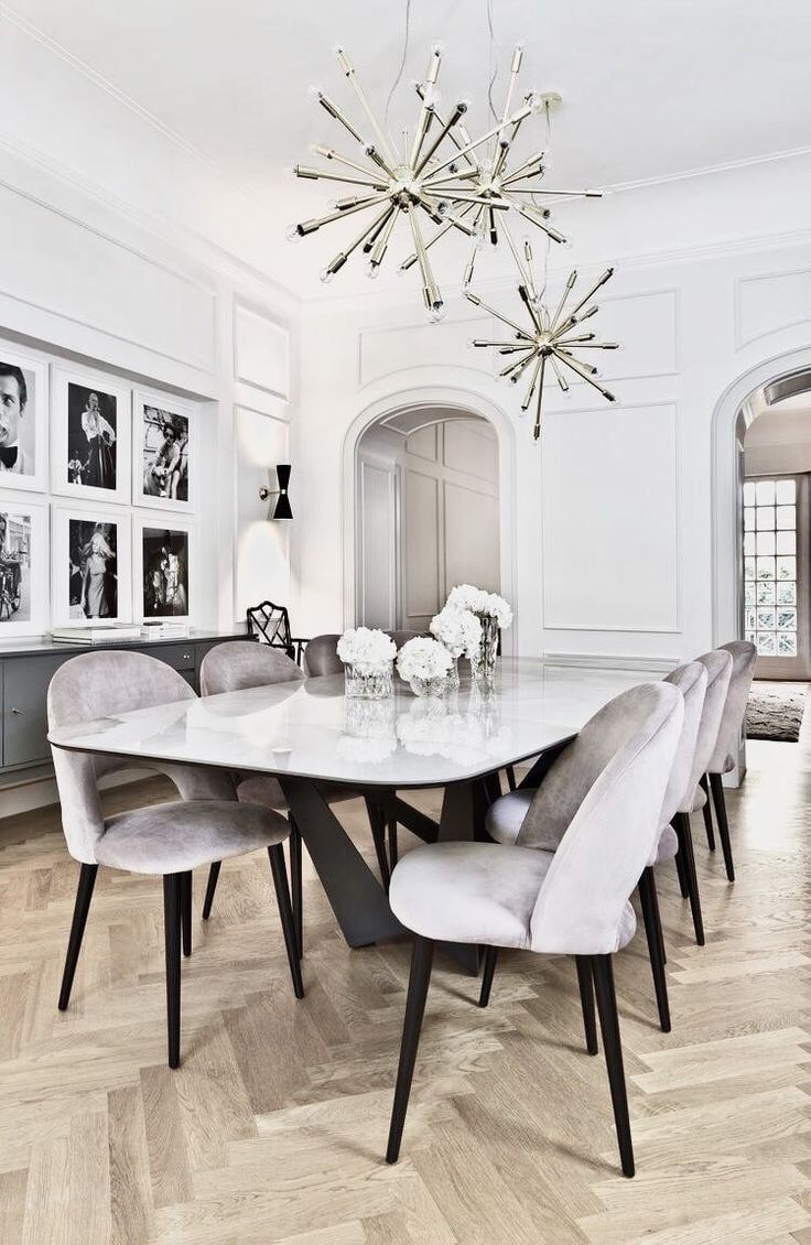 White Grey Luxury Glamorous Dining Room Design Dining Room