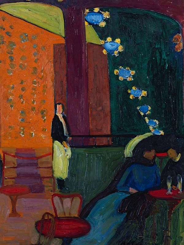 Erma Bossi - Im Café (Interieur mit Figuren), c. 1909/10. Oil on cardboard. (No size available)For more Fine Arts follow galerie mARTin.