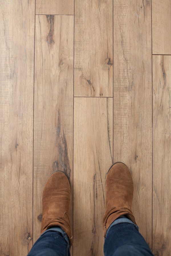 """…and then there was flooring! It's Swiftlock laminate flooring from Lowes in the color """"Antique Hickory"""". Love this color!"""