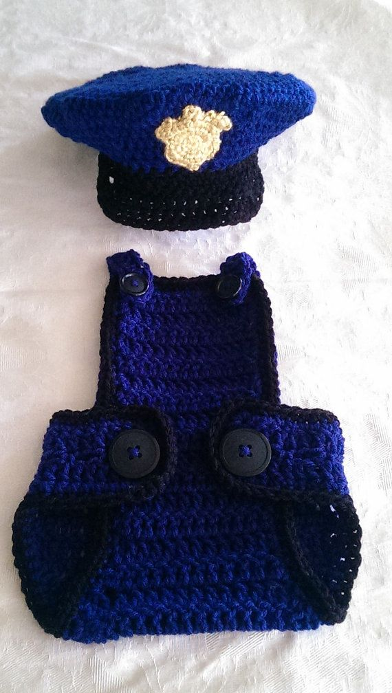 Police bibbed diaper Cover and hat size 612 by GranniesCrocheting