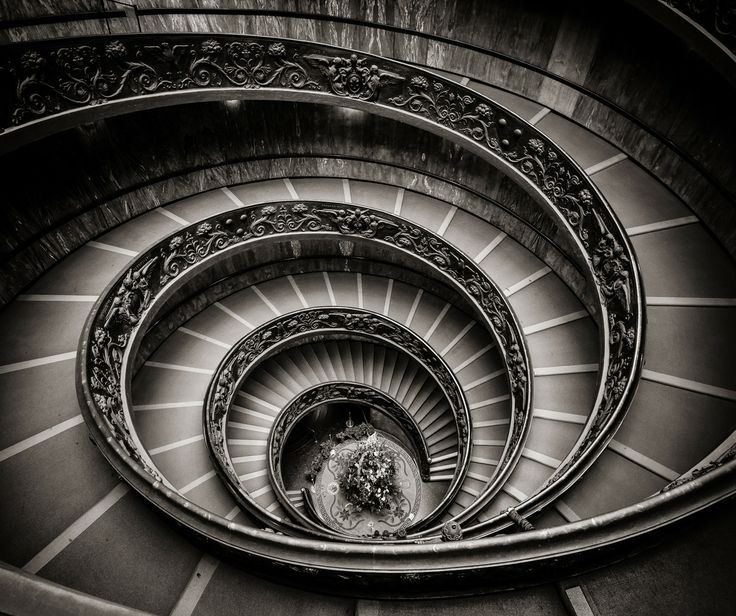 Radial balanced image - A winding staircase moving outwards to the edges of the image bringing more attention to the center of the image.