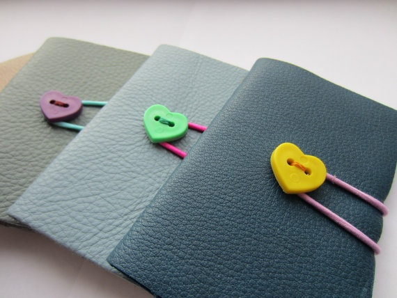 Love Heart Journals - Small Leather A7 Size Notebook Journals with Heart Buttons