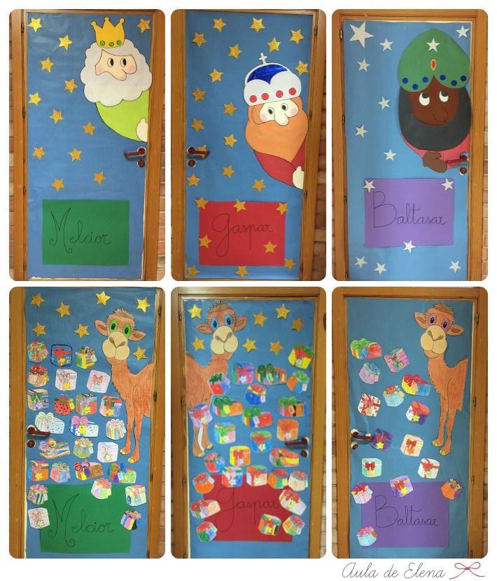 decoracin navidad puerta de las clases los reyes magos melchor gaspar y baltasar y