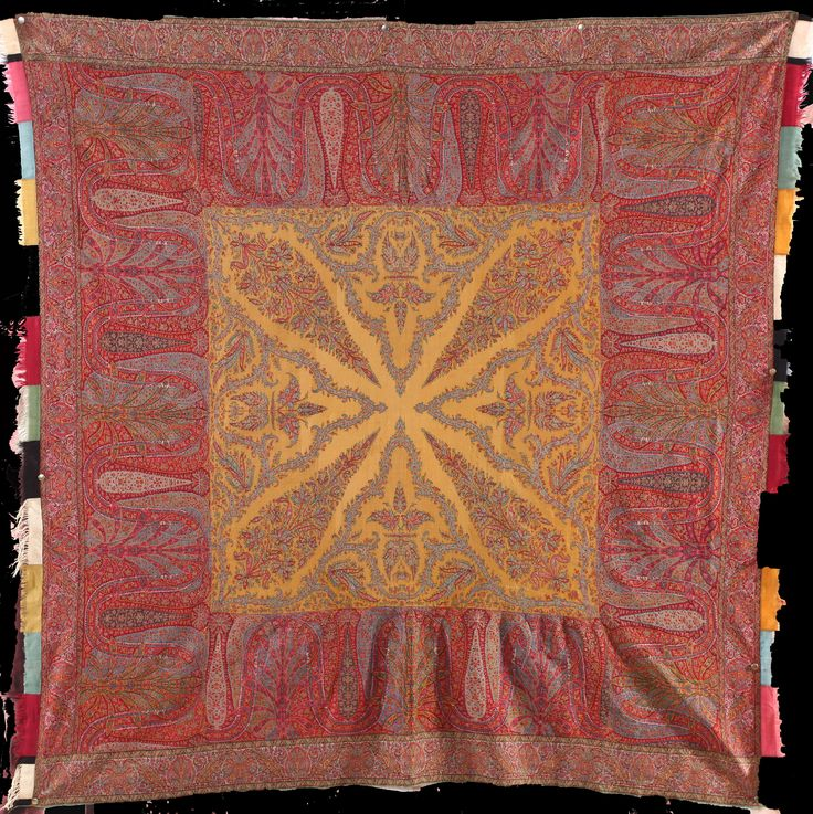 Kashmiri square shawl with spectacular saffron center. C1860