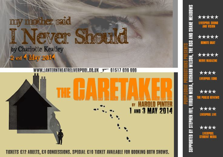 Poster for My Mother Said I Never Should and The Caretaker double bill