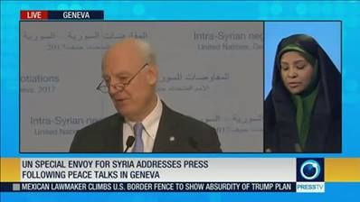 UN special envoy for Syria addresses press following peace talks in Geneva