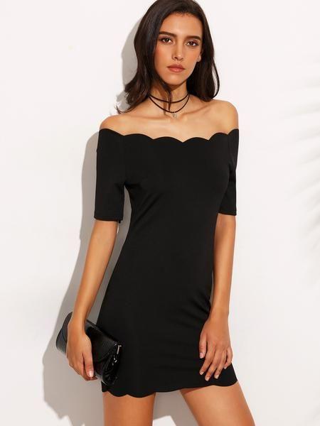 scallop bodycon dress, off the shoulder black dress, tight sexy black scallop dress - Lyfie