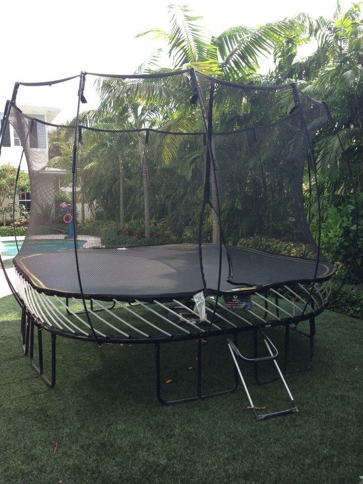 SpringFree Trampoline Installed in the backyard. One of the safest trampolines on the market today.