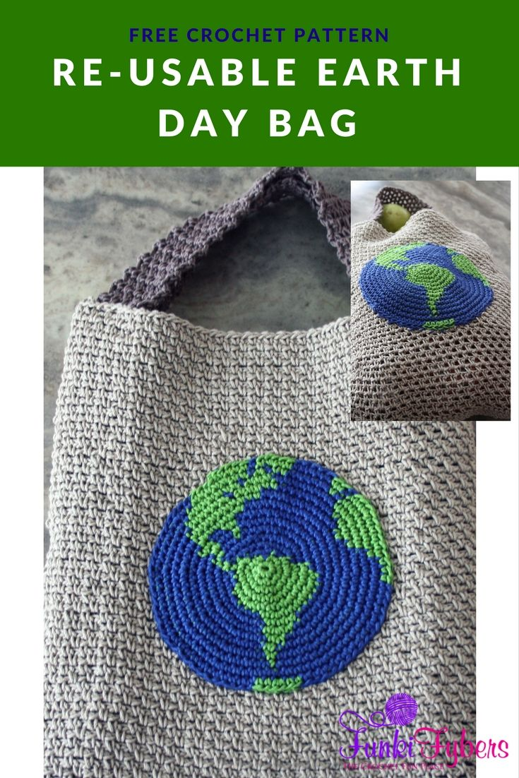 Free pattern featuring an earth tapestry appliqué that is worked in an increasing round, and the moss stitch makes up the bag.
