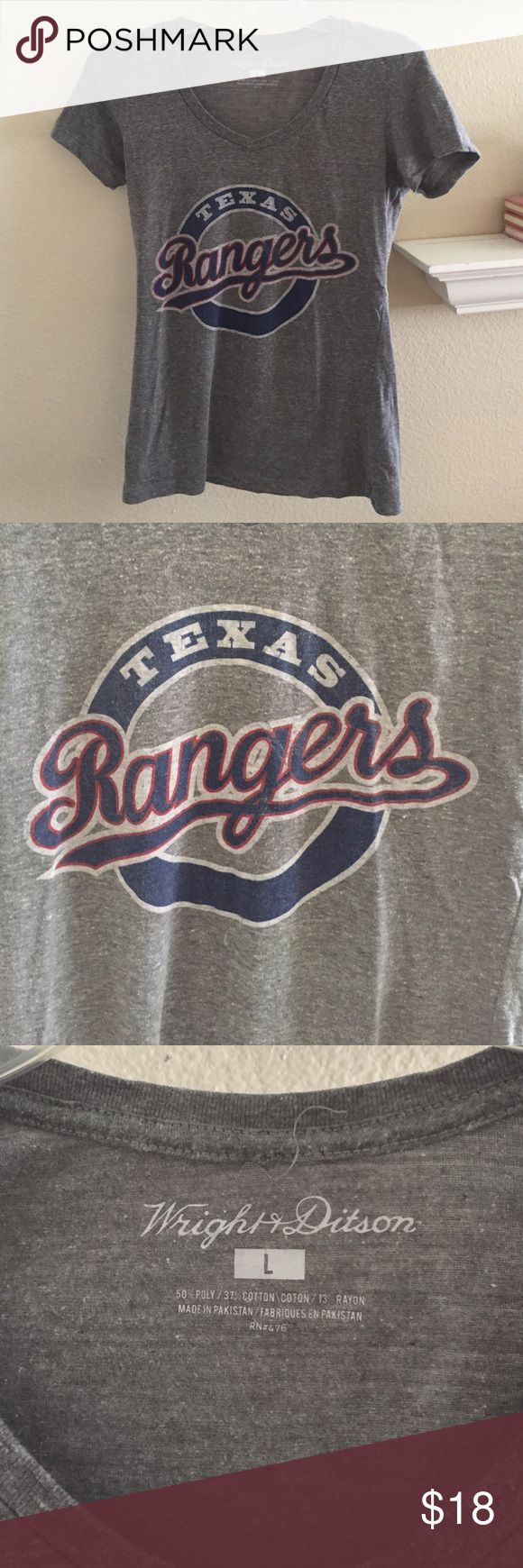 Texas Rangers baseball shirt Texas Rangers grey Vneck tshirt. Size large (fits medium) MLB Tops Tees - Short Sleeve