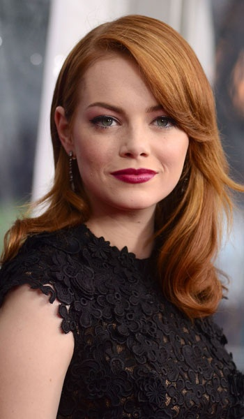 Emma Stone's Copper Golden haircolor is so vibrant and flattering against her fair skin! Get your own best #hair #color right at home here: http://www.haircolorforwomen.com/breakthrough-hair-color-system-your-salon-doesnt-want-you-to-know-about-p/