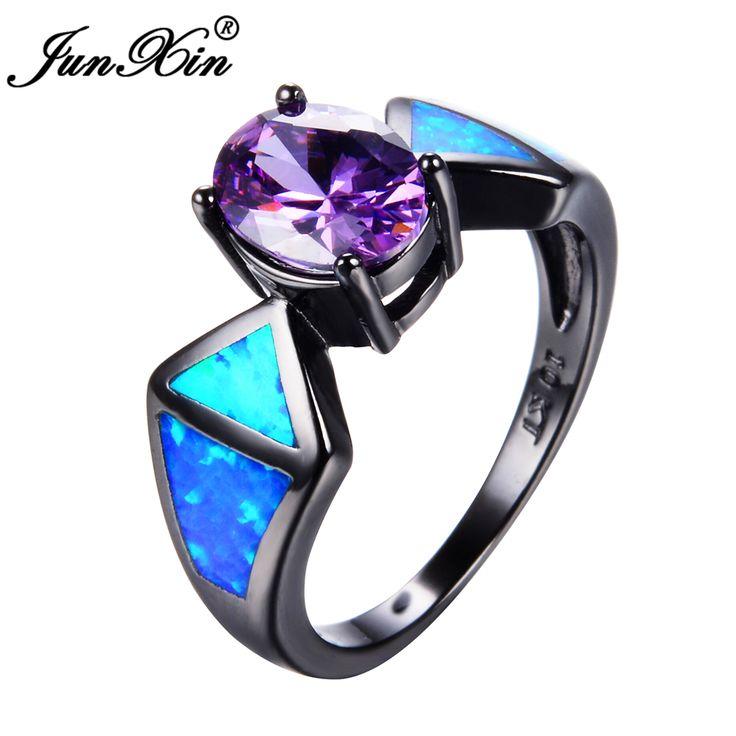 JUNXIN Nieuwe Mode Blue Fire Opal Ring Vintage Paars Amethist Ring Black Gold Filled Sieraden Trouwringen Voor Mannen En vrouwen
