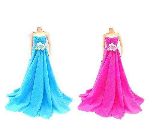 OurKosmos® Moda partito di sera abiti da sposa abito per la bambola di Barbie-Blue & Pink