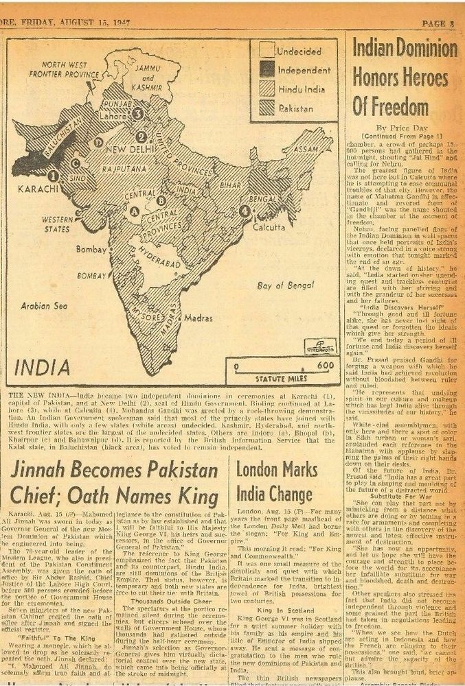 Partition of India. India Honors Heroes of Freedom Fight 15 August 1947 B21
