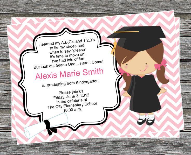 Pre K or Kindergarten Graduation Invitation (boy and girl versions) - Coordinating Items Available. $7.95, via Etsy.