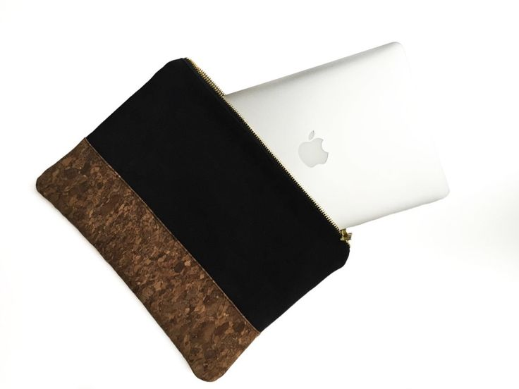 Black organic cotton canvas clutch bag - laptop case - eco-friendly cork base - minimalist style by LINThomeware on Etsy