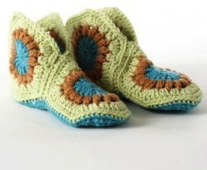 Cute and Cozy Granny Square Slippers | AllFreeCrochet.com