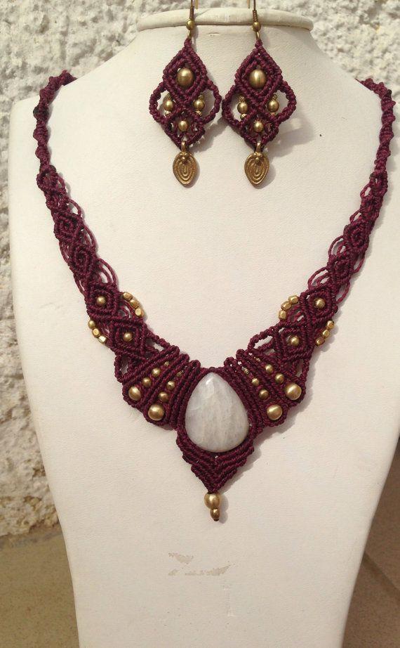 Tribal gypsy macrame earrings with brass beads by ARTofCecilia