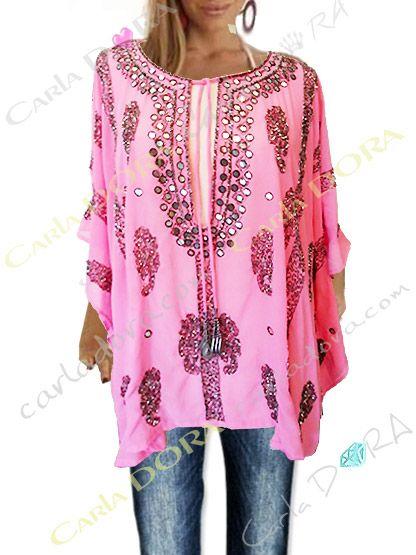 tunique femme tendance mi longue rose malabar broderies et paillettes, top tunique femme