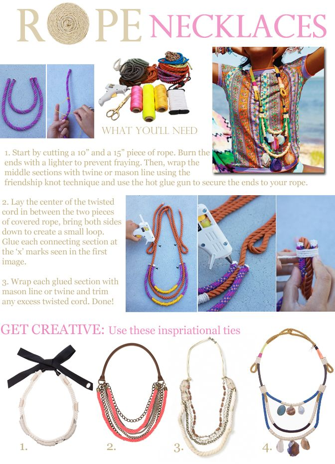 274 best jewelry images on pinterest jewellery making jewelry diy rope necklaces so cool for the summer solutioingenieria Images